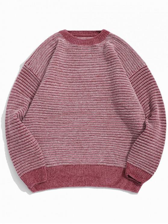 ストライプ柄のドロップショルダー袖カジュアルセーター - ピンク L