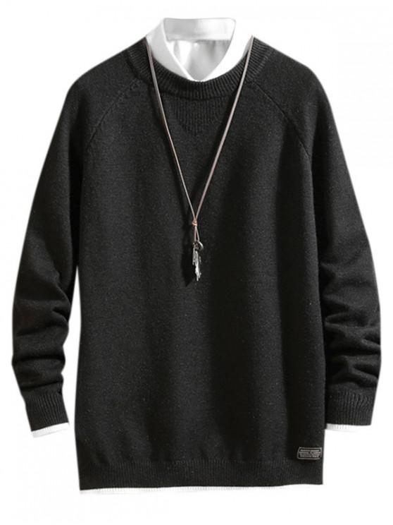 Farbe Gespleißte Buchstabedruck Lässige Pullover - Schwarz L