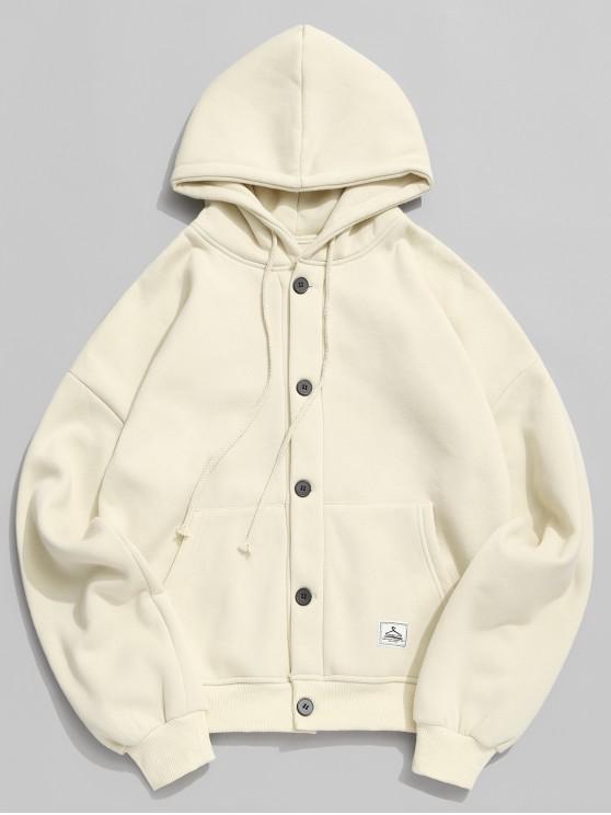 buy Applique Solid Drop Shoulder Button Hooded Jacket - BEIGE 4XL
