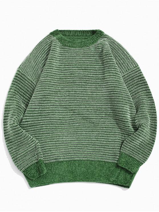 ストライプ柄のドロップショルダー袖カジュアルセーター - 緑 2XL
