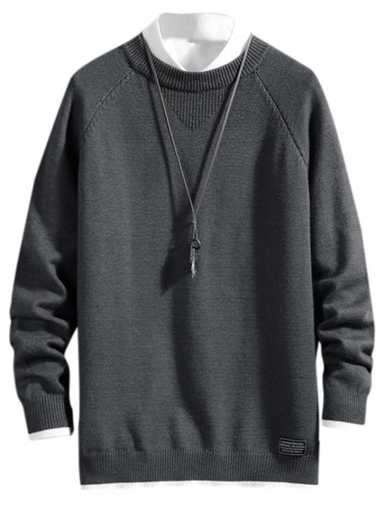 online Color Spliced Letter Pattern Casual Sweater - CARBON GRAY 4XL