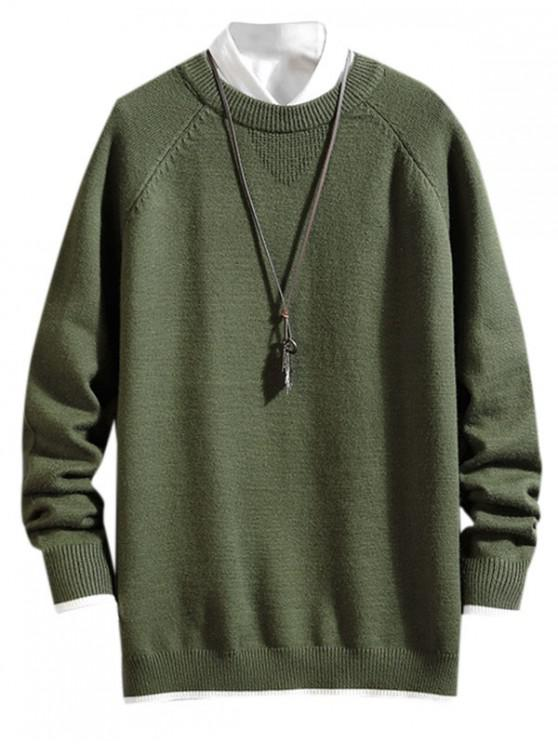 shop Color Spliced Letter Pattern Casual Sweater - ARMY GREEN M