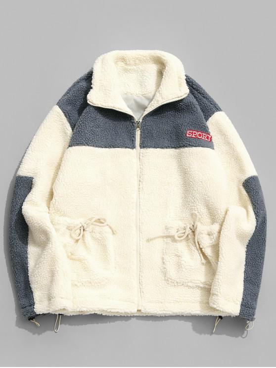buy Sport Letter Embroidery Color Blocking Spliced Jacket - WARM WHITE M