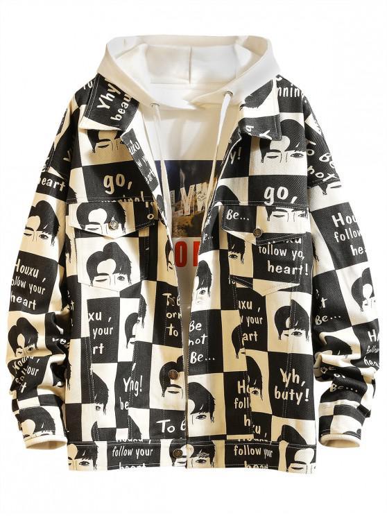 women Cartoon Letter Pattern Button Up Casual Jacket - WHITE 3XL