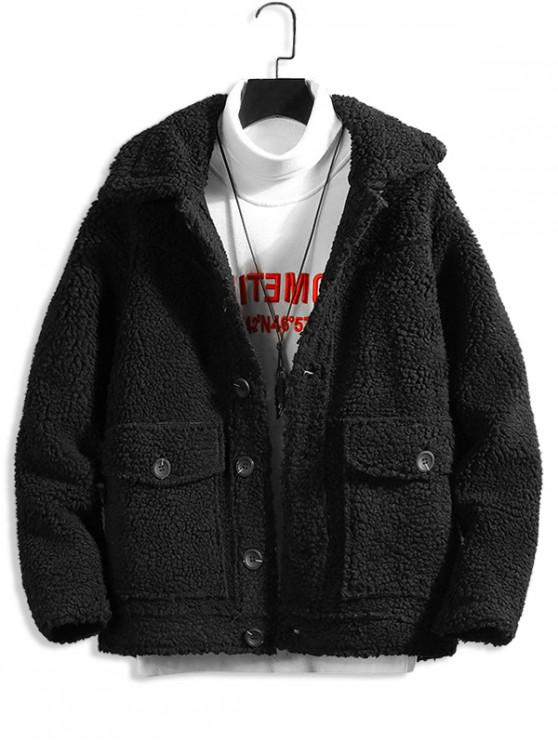 lady Solid Color Button Design Fluffy Jacket - BLACK XL