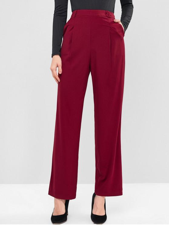 buy ZAFUL High Waisted Pocket Wide Leg Pants - RED WINE M
