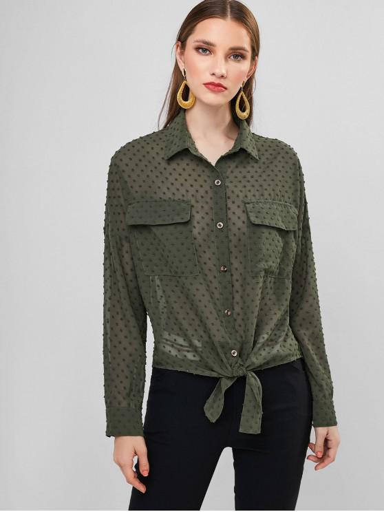 ZAFUL السويسري نقاط التعادل الجبهة رفرف جيوب القميص - اخضر بلون البندق M