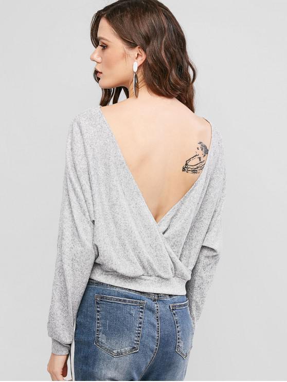 hot ZAFUL Crossover Batwing Wrap Back Knitwear - GRAY M