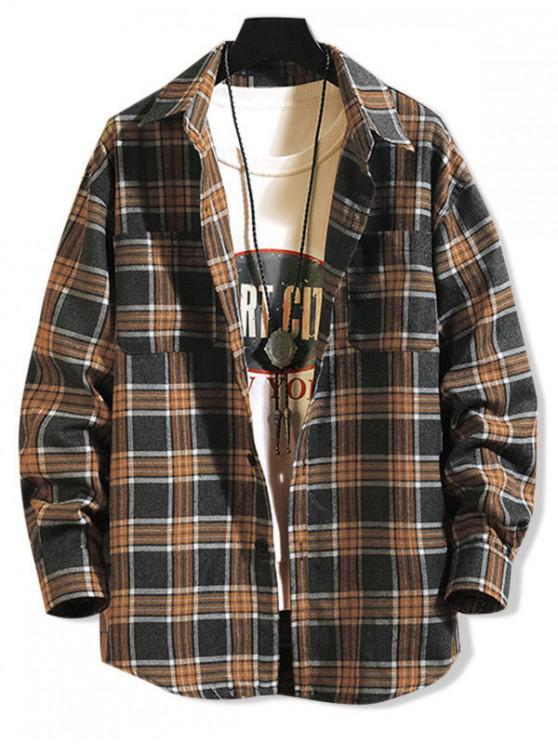 online Plaid Pattern Pocket Design Long-sleeved Shirt - CARBON GRAY 4XL