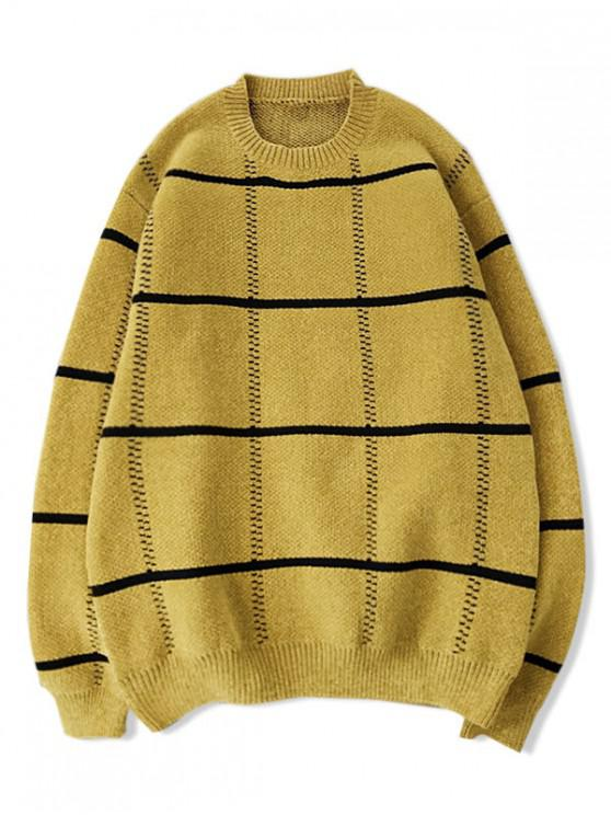 sale Checkered Graphic Crew Neck Pullover Sweater - YELLOW S