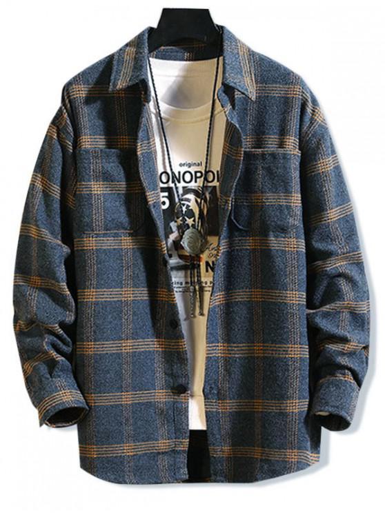 fancy Plaid Pattern Pocket Design Long-sleeved Shirt - LAPIS BLUE 3XL