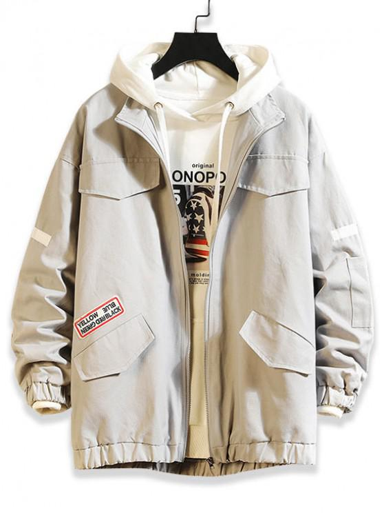 new Letter Pattern Pocket Design Zip Up Jacket - LIGHT GRAY 2XL