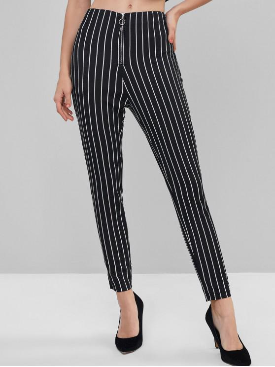 ladies ZAFUL Striped Front Zip Skinny Pants - BLACK L