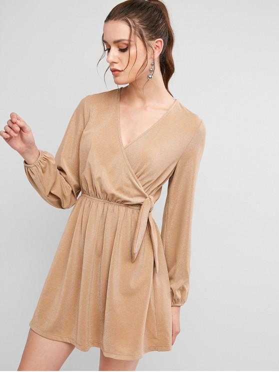 fashion ZAFUL Metallic Thread Surplice Belted Dress - BURLYWOOD S