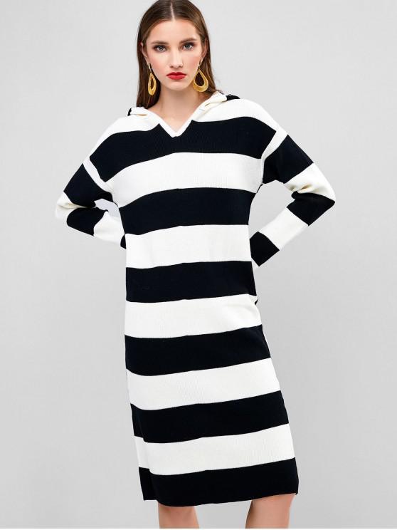 Colorblock vestido de suéter con capucha rayas de manga larga - Multicolor-A Única Talla