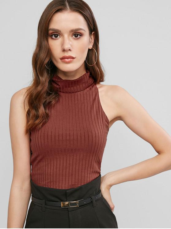 outfit ZAFUL Turtleneck Crop Slim Tank Top - RED WINE XL