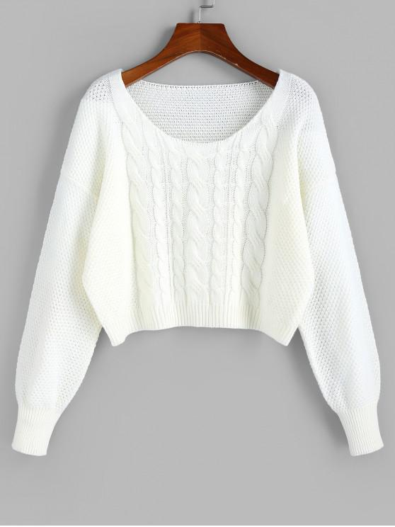 womens ZAFUL Cable Knit Drop Shoulder Crop Sweater - WHITE S
