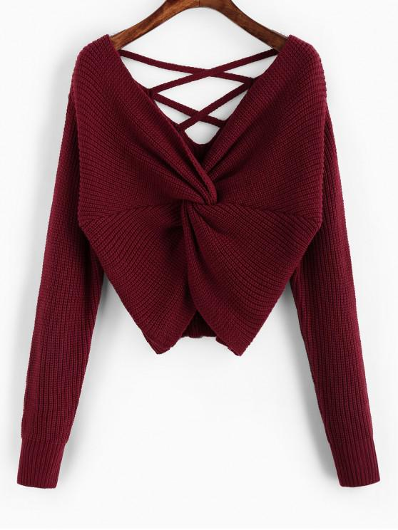 hot ZAFUL Twisted Criss Cross Drop Shoulder Sweater - RED WINE S