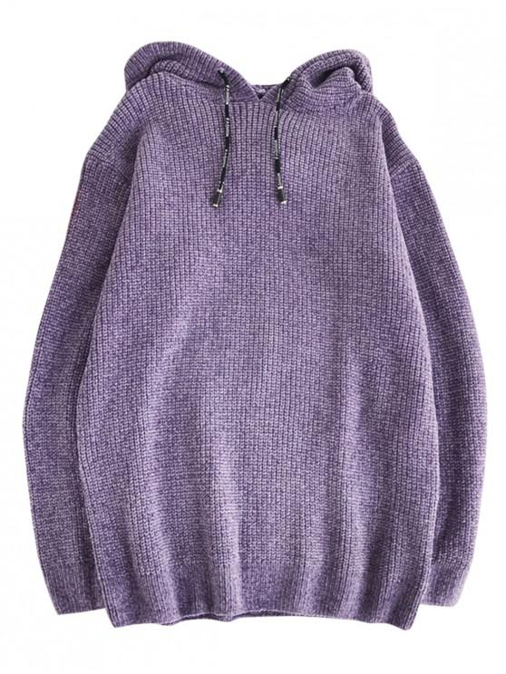 womens Solid Color Drawstring Pullover Hooded Sweater - VIOLA PURPLE M