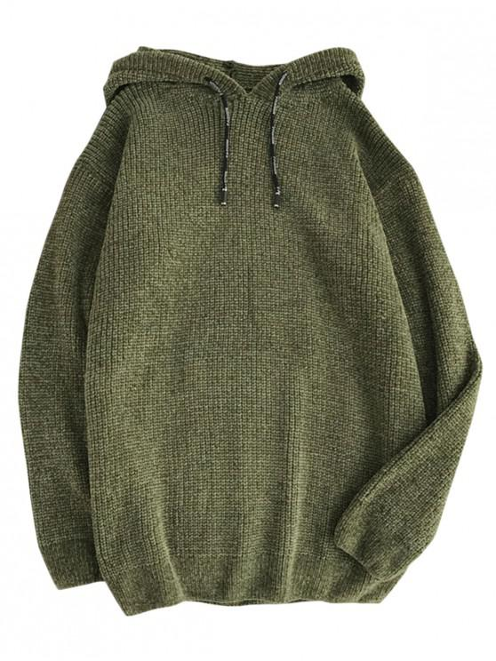 lady Solid Color Drawstring Pullover Hooded Sweater - ARMY GREEN XS