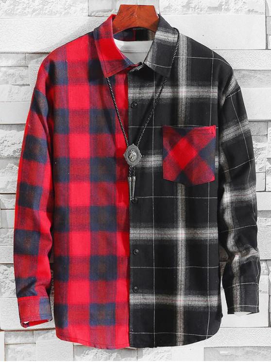 lady Plaid Pattern Color Spliced Casual Shirt - MULTI-A XL