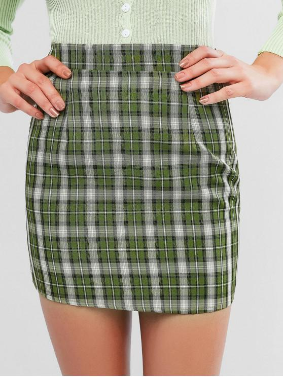 shops Plaid Zip Fly Fitted Skirt - CAMOUFLAGE GREEN M