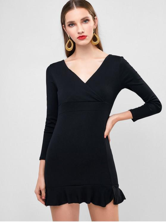 sale Plunging Mini Mermaid Party Dress - BLACK S