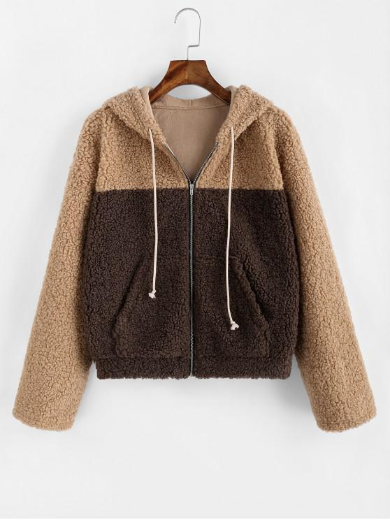 shop ZAFUL Two Tone Drop Shoulder Hooded Teddy Coat - DEEP BROWN XL
