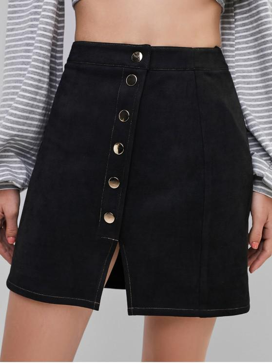 hot ZAFUL Faux Suede Button Fly Slit Skirt - BLACK S