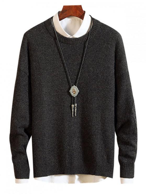 Ellbogen Flicken Verzierte Pullover - Schwarz 2XL