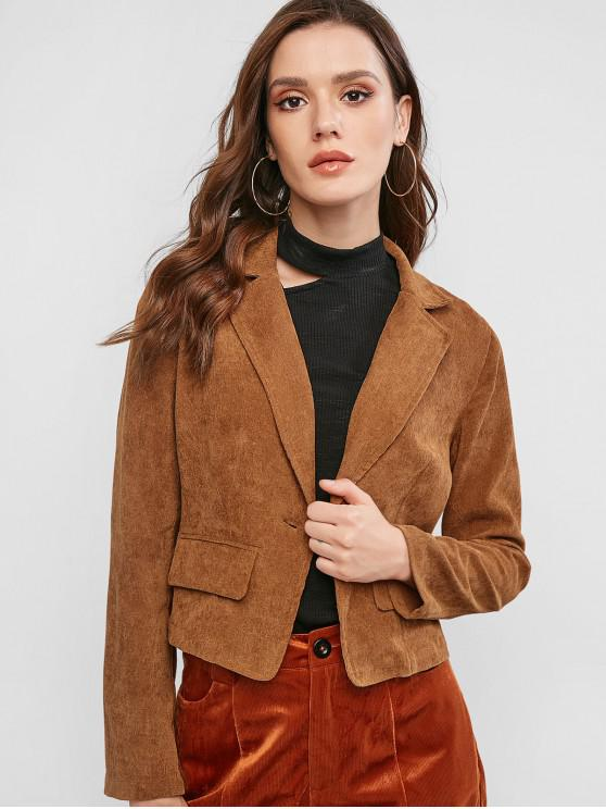 hot ZAFUL Corduroy One Button Lapel Blazer - CARAMEL S