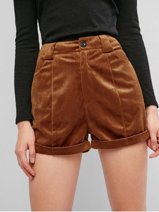 ZAFUL Shorts de Terciopelo con Cremallera - Caramelo S