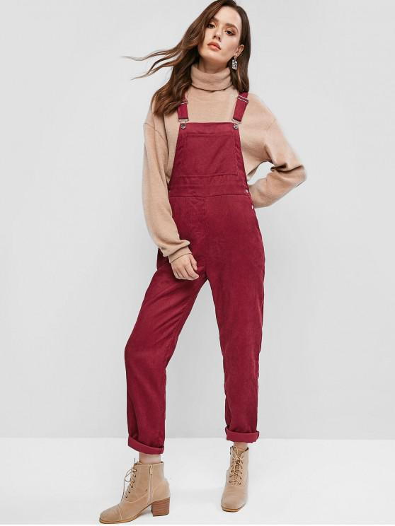 sale ZAFUL Corduroy Pocket Pinafore Jumpsuit - FIREBRICK L