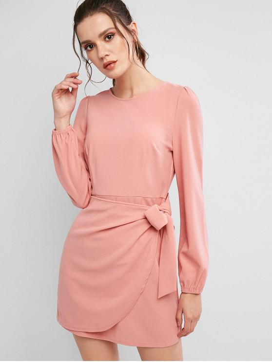 fashion ZAFUL Long Sleeves Knotted Solid Mini Dress - PINK L
