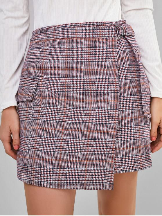 affordable ZAFUL Houndtooth Print Flap Pocket Wrap Skirt - BURNT PINK XL