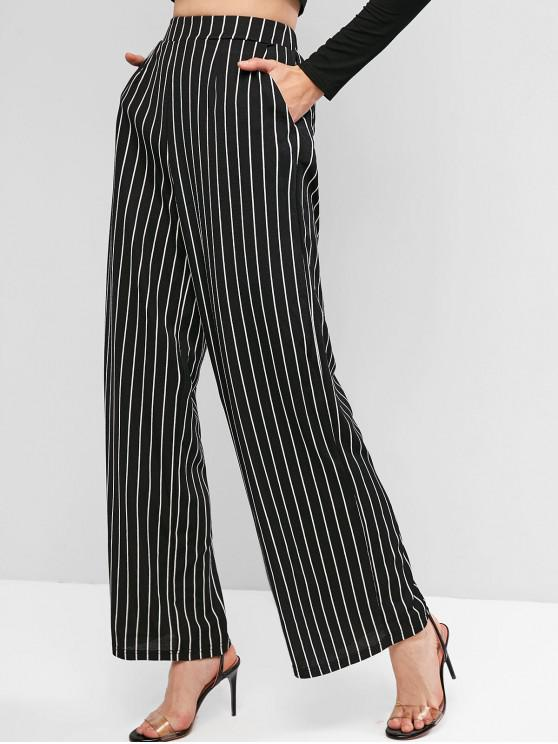 outfits ZAFUL Striped Wide Leg Pants with Pockets - BLACK S