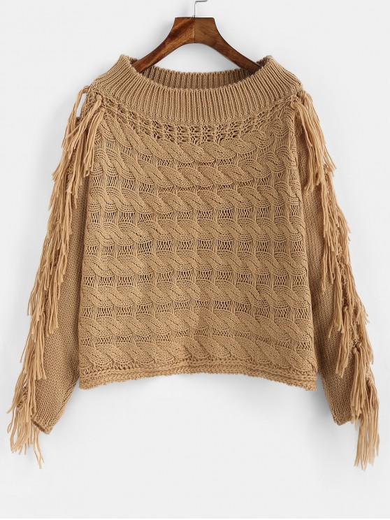 sale ZAFUL Tassel Cable Knit Openwork Sweater - CAMEL BROWN S