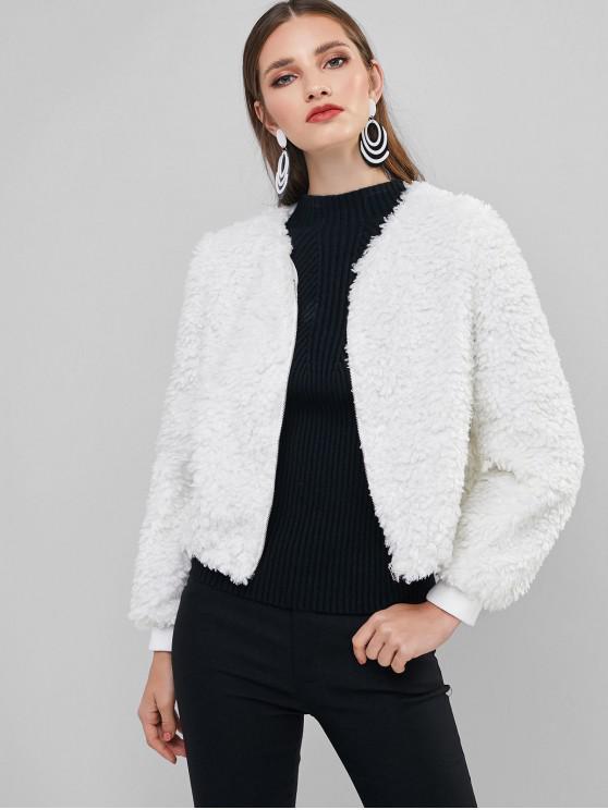 sale ZAFUL Fluffy Teddy Coat - WHITE M