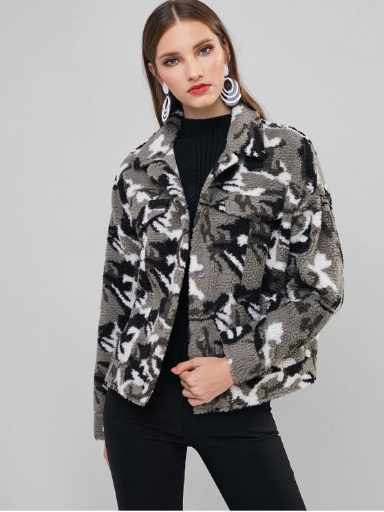 womens ZAFUL Camo Print Fluffy Faux Fur Coat - SNOW CAMOUFLAGE S