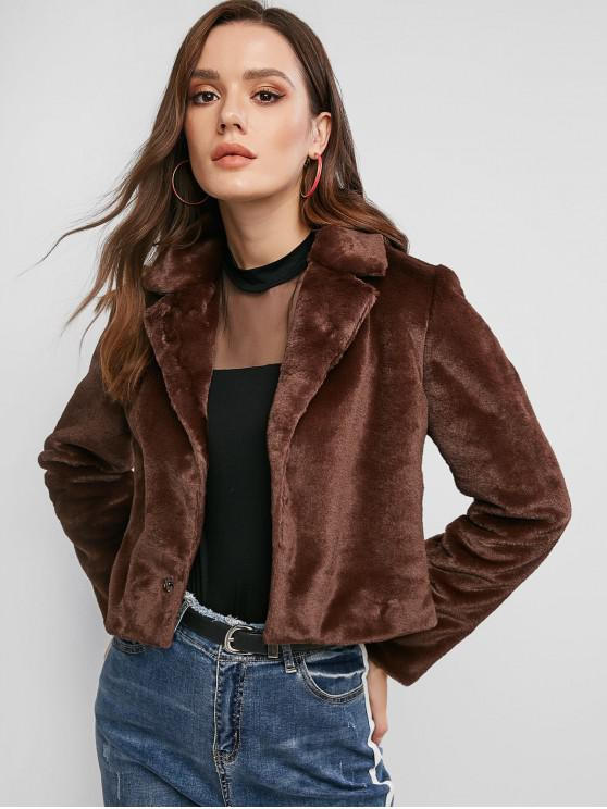 best ZAFUL Faux Fur Cropped Coat - DEEP BROWN XL