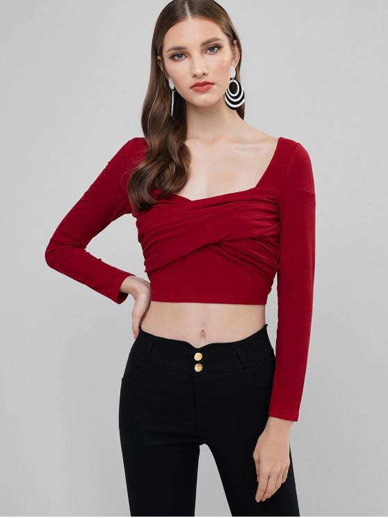 trendy ZAFUL Ribbed Sweetheart Neck Crossover Crop Tee - LAVA RED M
