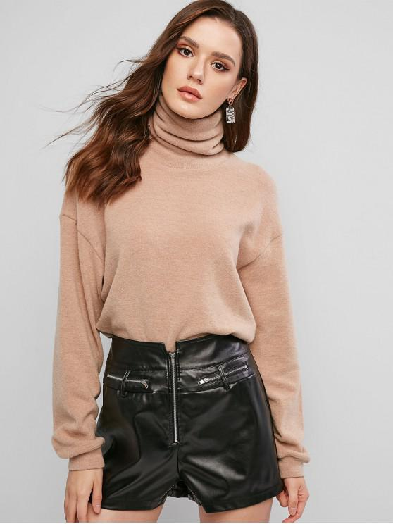 affordable ZAFUL Drop Shoulder Turtleneck Jumper Sweater - DARK KHAKI S