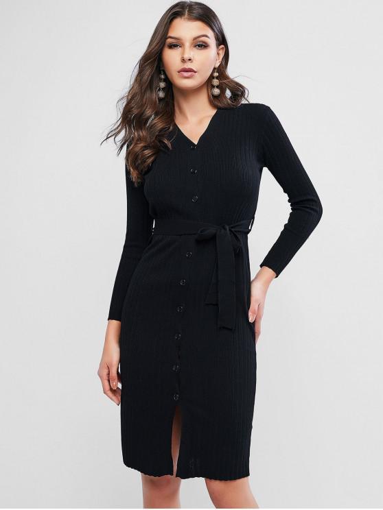 women Button Up Ribbed Belted V Neck Dress - BLACK ONE SIZE