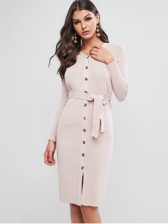 women's Button Up Ribbed Belted V Neck Dress - LIGHT KHAKI ONE SIZE