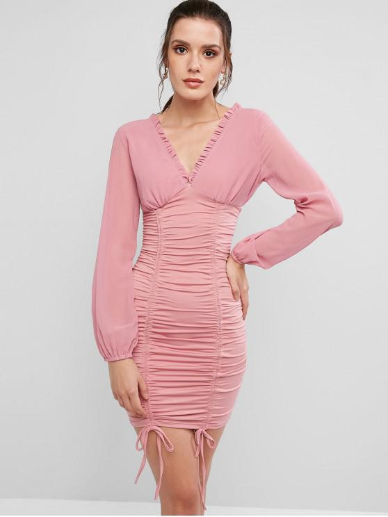 best Long Sleeve Cinched Double V Bodycon Dress - PINK M