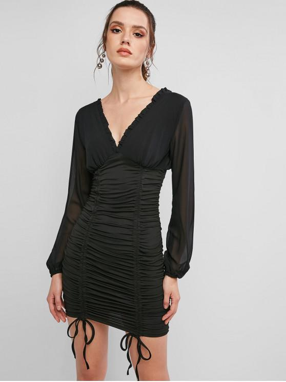 trendy Long Sleeve Cinched Double V Bodycon Dress - BLACK S