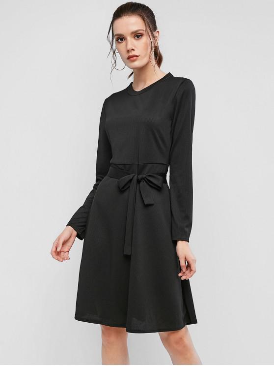 fancy Ribbed Long Sleeve Belted A Line Dress - BLACK M