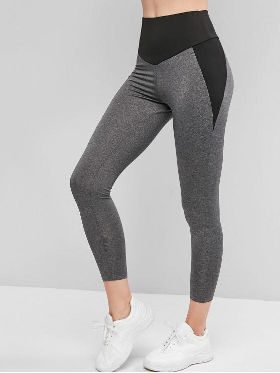 trendy Colorblock High Waisted Gym Leggings - GRAY S