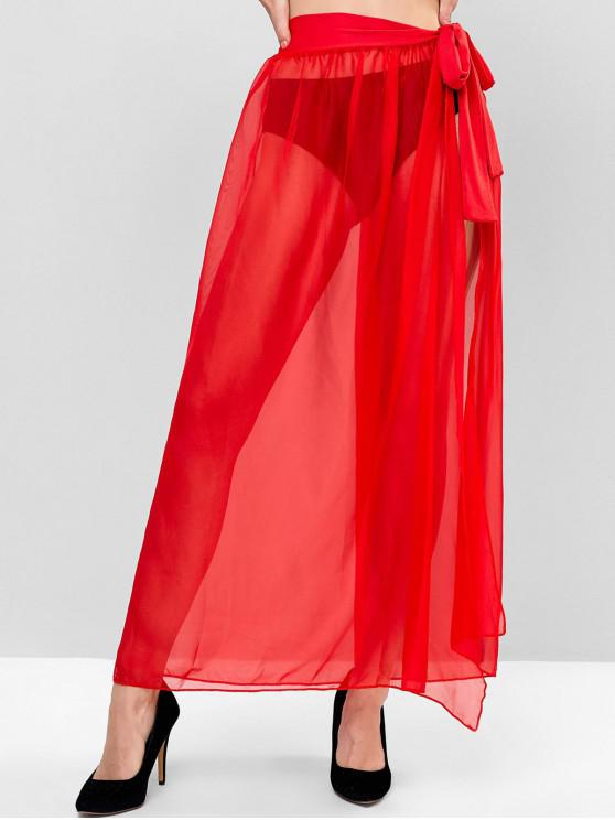 affordable Sheer Tie Maxi Wrap Skirt - LAVA RED ONE SIZE