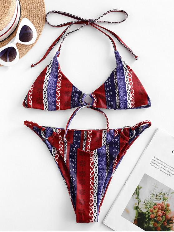 fashion ZAFUL Ethnic Halter Tie O-ring Bikini Swimsuit - RED M